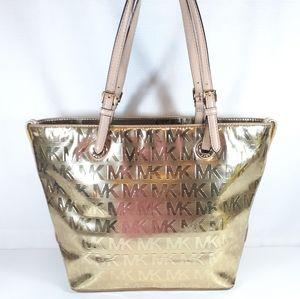 Michael Kors Metallic Jet Set Tote Purse Gold Bag